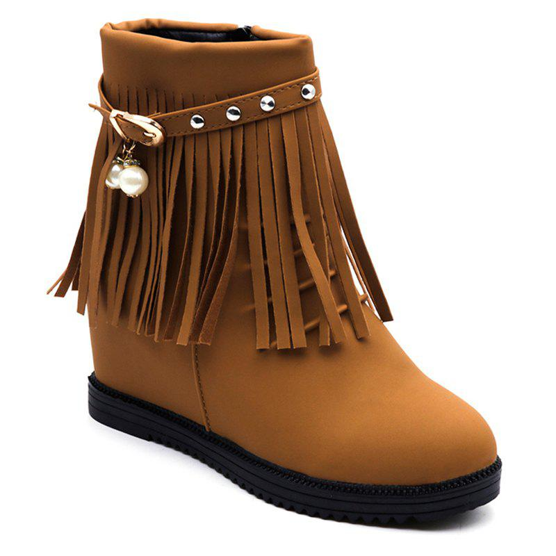 Store Autumn and Winter Increase Flat Bottomed Fringed Female Boots