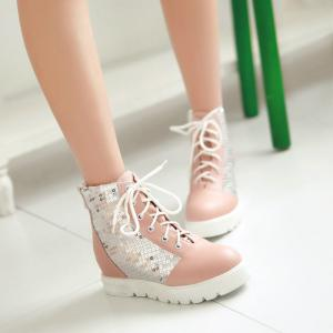 Round Flat-Bottomed Thick Heighten Casual Lace Boots -