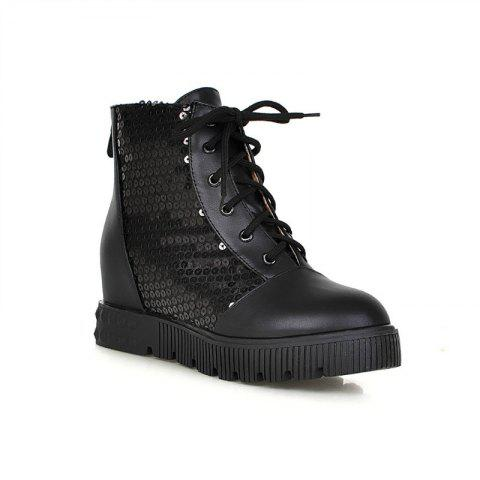 Discount Round Flat-Bottomed Thick Heighten Casual Lace Boots