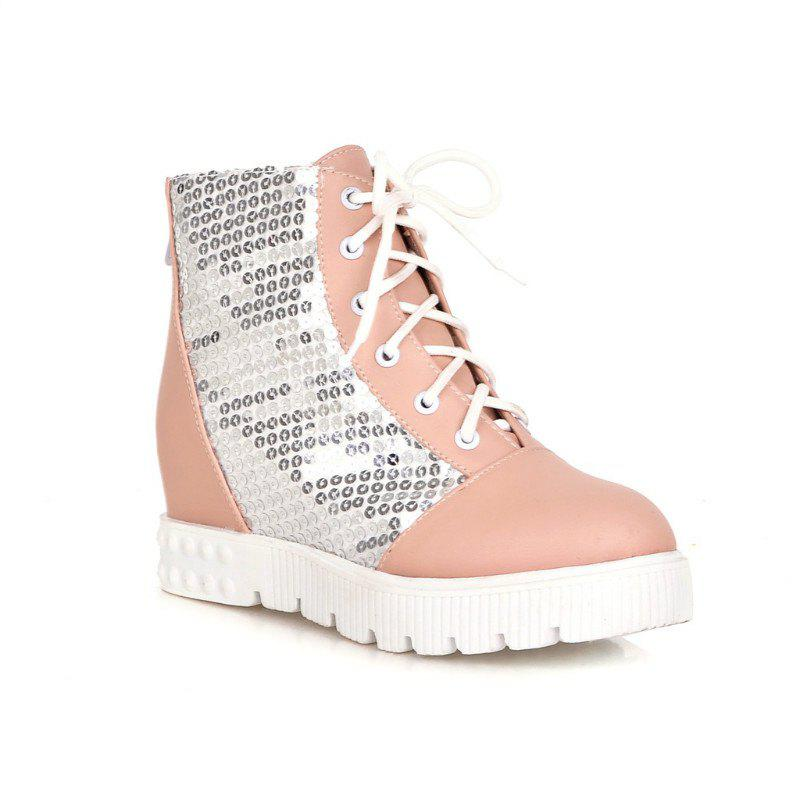 Fancy Round Flat-Bottomed Thick Heighten Casual Lace Boots