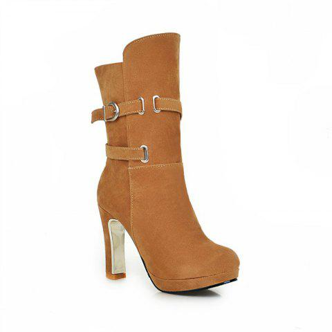 New Round Head with High-Heeled Fashion Belt Buckle Sexy Short Boots