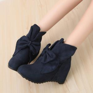Round Head Bow Increased Fashion Sweet Boots -