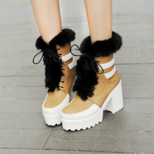 Round Head with High Heels Fashion Lace Boots -