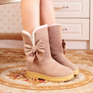 Round Flat-Bottomed Sweet Bowknot Short Boots -