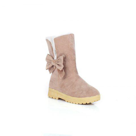 Fashion Round Flat-Bottomed Sweet Bowknot Short Boots