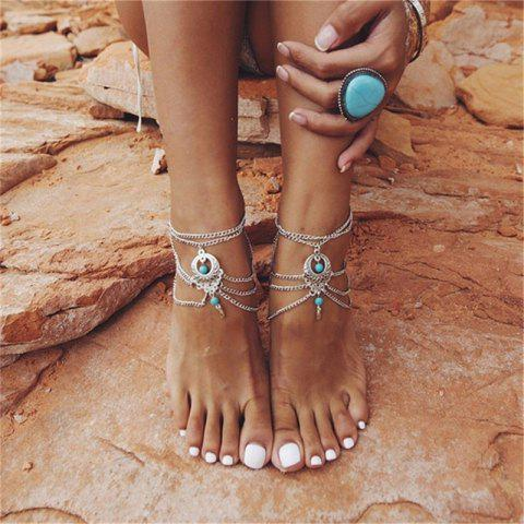 New Bohemia Wind Vintage Turquoise Pendant Lady Anklet Chain