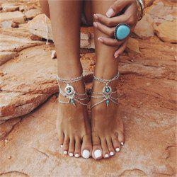 Bohemia Wind Vintage Turquoise Pendant Lady Anklet Chain -