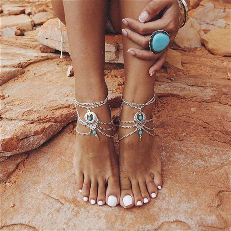 Trendy Bohemia Wind Vintage Turquoise Pendant Lady Anklet Chain