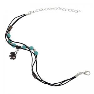 Fashion Turquoise Bead and Antique Silver Elephant Pendant Anklet -