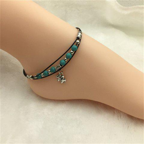 Best Fashion Turquoise Bead and Antique Silver Elephant Pendant Anklet
