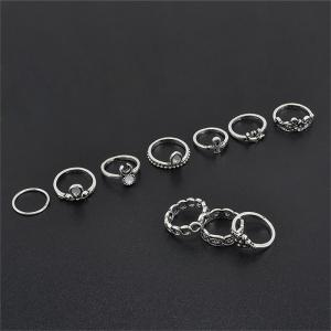 National Style Jewelry Carved Retro Lady Joint Ring Ten Piece Set -