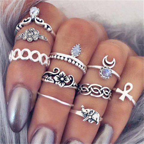 Hot National Style Jewelry Carved Retro Lady Joint Ring Ten Piece Set