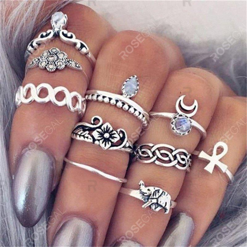 Trendy National Style Jewelry Carved Retro Lady Joint Ring Ten Piece Set