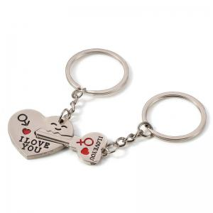 Fashion Simple Heart-shaped Lovers Silver Key Buckle -