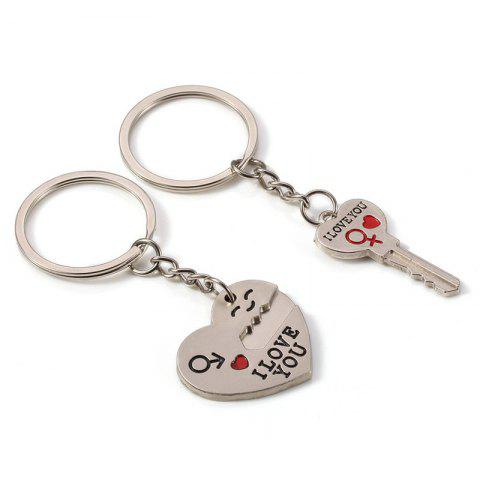 Affordable Fashion Simple Heart-shaped Lovers Silver Key Buckle