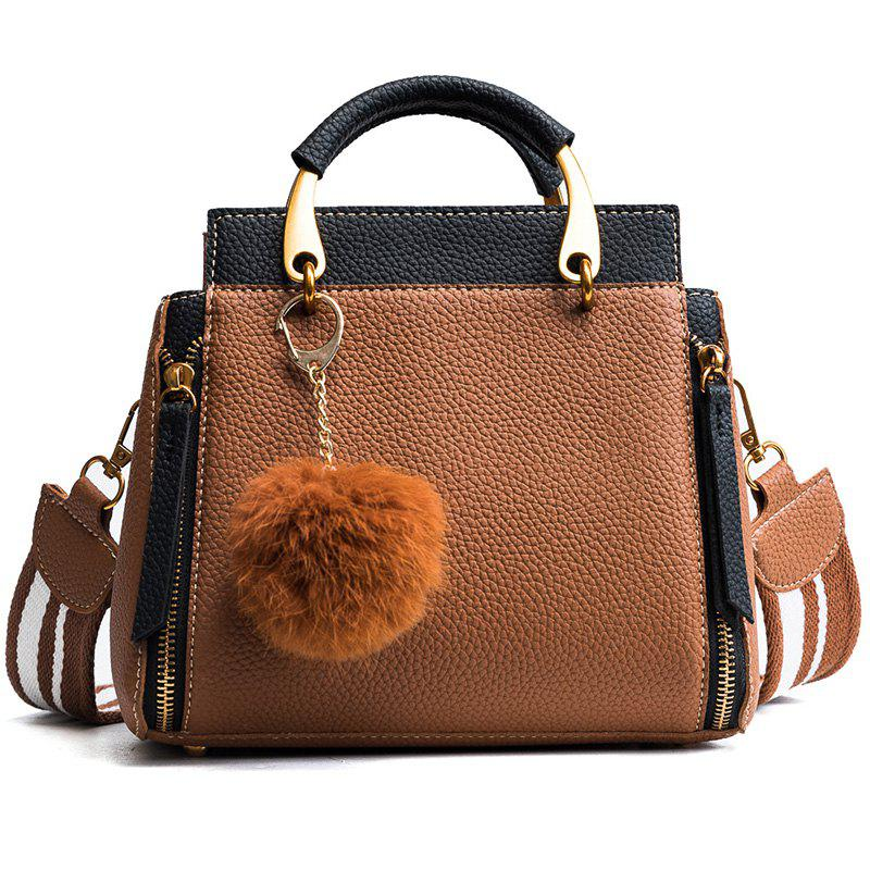 Outfit Wide Straps Shoulder Bag Tote Bag 2018 New Trend Litchi Hair Ball All-Match Small Bag Lady