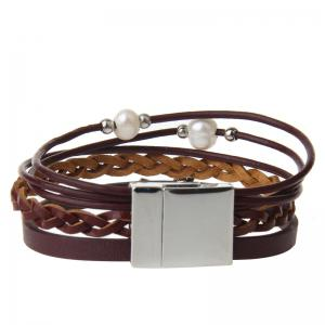 Fashion Ornament Personality Pearl Multilayered Leather Bracelet -