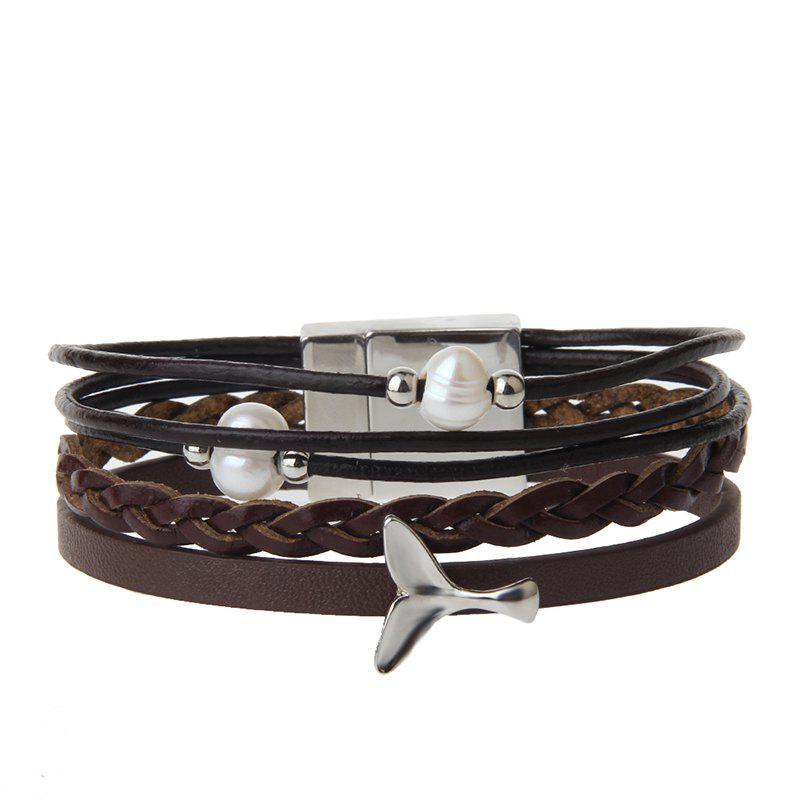 Fancy Fashion Ornament Personality Pearl Multilayered Leather Bracelet
