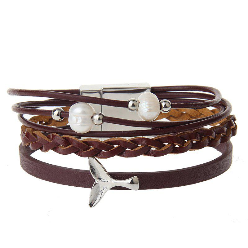 Outfits Fashion Ornament Personality Pearl Multilayered Leather Bracelet
