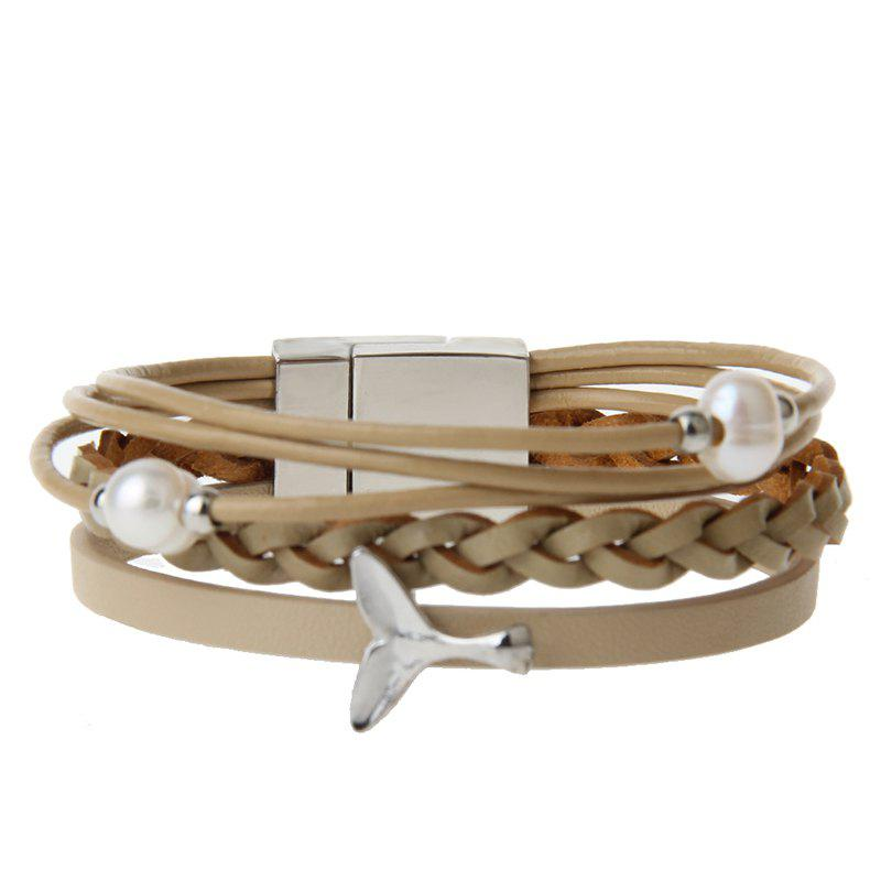 Unique Fashion Ornament Personality Pearl Multilayered Leather Bracelet