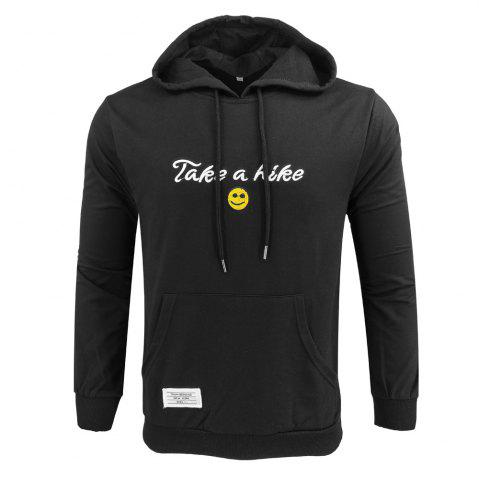 Trendy Spring and Autumn Men'S Casual Outdoor Sports Hooded Long-Sleeved Solid Color Embroidered Letters Hoodie