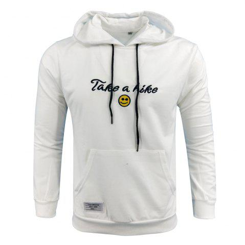 Fashion Spring and Autumn Men'S Casual Outdoor Sports Hooded Long-Sleeved Solid Color Embroidered Letters Hoodie