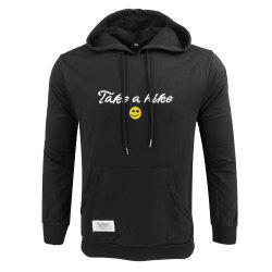 Spring and Autumn Men'S Casual Outdoor Sports Hooded Long-Sleeved Solid Color Embroidered Letters Hoodie -
