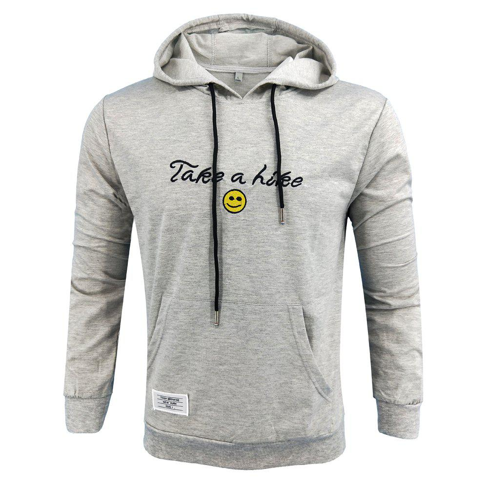 Outfits Spring and Autumn Men'S Casual Outdoor Sports Hooded Long-Sleeved Solid Color Embroidered Letters Hoodie