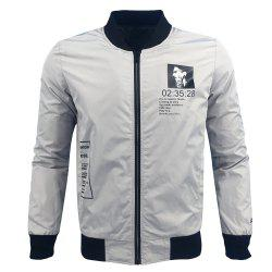 Men'S Autumn and Winter Stand-Collar Fashion Casual Tide Cool Printing Jacket -