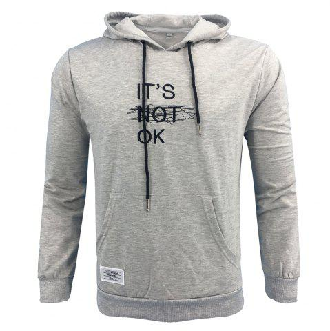 Chic Men 'S Spring and Autumn Fashion Casual Outdoor Sports Hooded Solid Embroidered Long Sleeve Hoodie