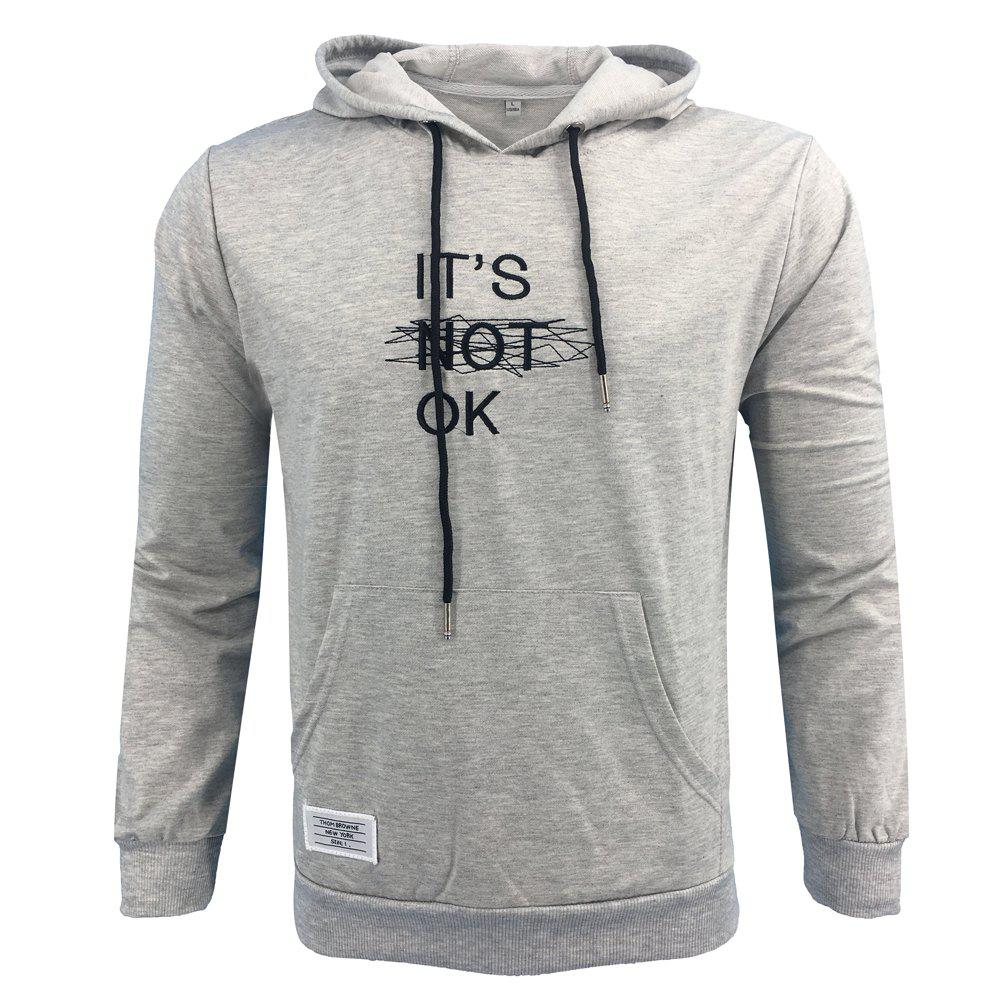 Shop Men 'S Spring and Autumn Fashion Casual Outdoor Sports Hooded Solid Embroidered Long Sleeve Hoodie