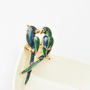 Jewelry Luxury Brooch Gold-Color with Green Enamel Couple Parrot Brooches for Lady Fashion Accessories -