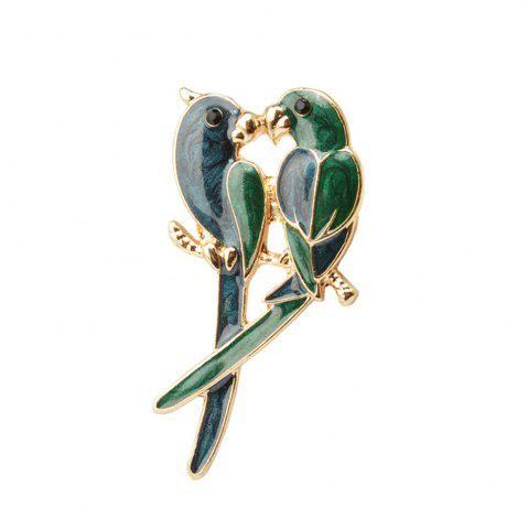 Buy Jewelry Luxury Brooch Gold-Color with Green Enamel Couple Parrot Brooches for Lady Fashion Accessories