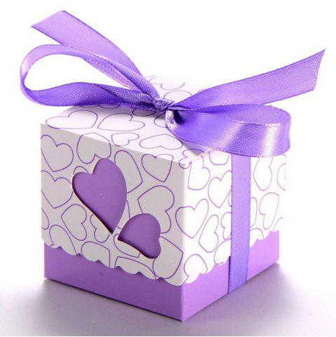 Affordable Novelty Double Hollow Love Heart Design Wedding Favor Candy Boxes Gift Boxes with Ribbons   50 pcs