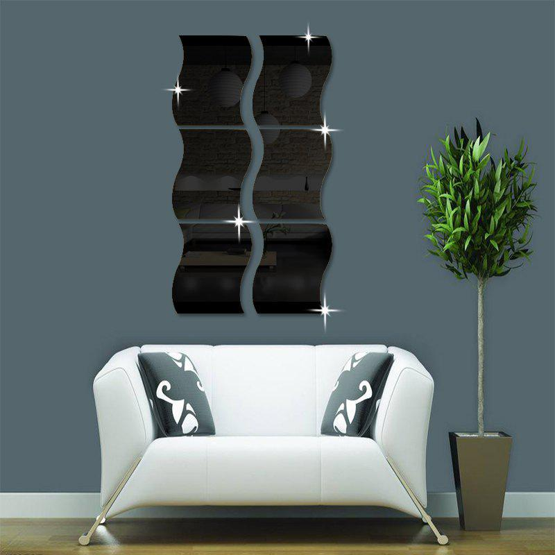 noir 6pcs bricolage tanche vague amovible forme miroir effet mural autocollant. Black Bedroom Furniture Sets. Home Design Ideas