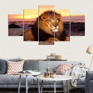 YSDAFEN 5 Panels Lion Wild Lion Resting Staring At The Camera Stones Painting -