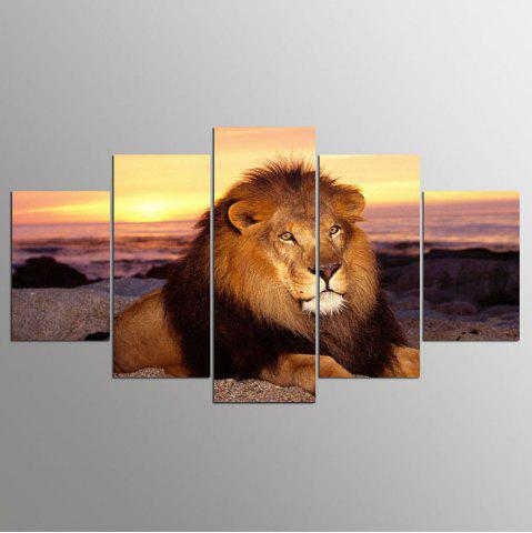 Unique YSDAFEN 5 Panels Lion Wild Lion Resting Staring At The Camera Stones Painting