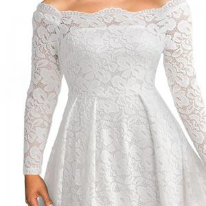 Robe Femme Embroidery Vintage Lace  Women Off Shoulder  Long Sleeve Casual Evening Party  Dress -