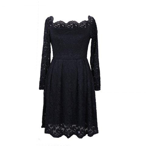 Shop Robe Femme Embroidery Vintage Lace  Women Off Shoulder  Long Sleeve Casual Evening Party  Dress