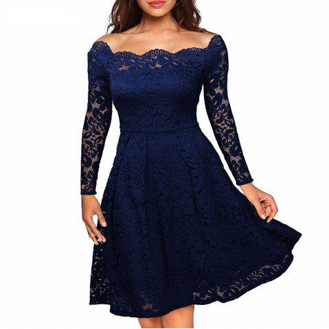 New Robe Femme Embroidery Vintage Lace  Women Off Shoulder  Long Sleeve Casual Evening Party  Dress