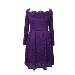 ba055205e6a Robe Femme Embroidery Lace Women Off Shoulder Long Sleeve Casual Evening  Party Dress ...