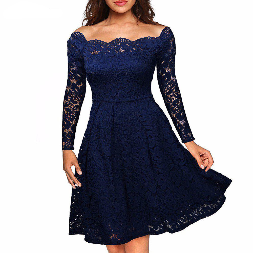 Shops Robe Femme Embroidery Vintage Lace  Women Off Shoulder  Long Sleeve Casual Evening Party  Dress