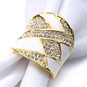 American Fashion 18k  Gold Plated Crystar Enamel Luxury Ring -