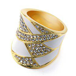 American Fashion 18k  Gold Plated Crystal Enamel Luxury Ring -