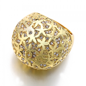 Plated Gold Crystal  Luxury Fashion Rings -