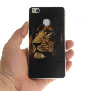 The Lion Pattern  Soft Clear IMD TPU Phone Casing Mobile Smartphone Cover Shell Case for Xiaomi Mi4S -