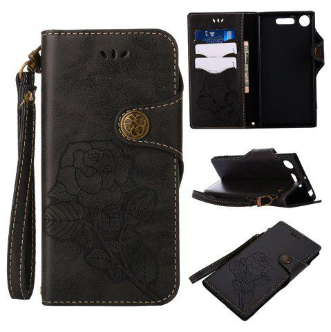 Trendy Retro Rose PU Leather Magnetic Closure Flip Wallet Protective Case with Lanyard for Sony Xperia XZ1
