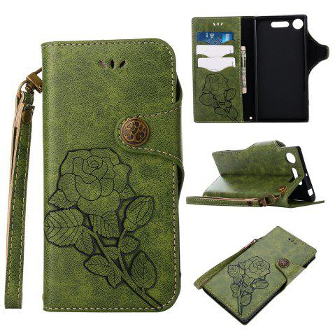 Discount Retro Rose PU Leather Magnetic Closure Flip Wallet Protective Case with Lanyard for Sony Xperia XZ1