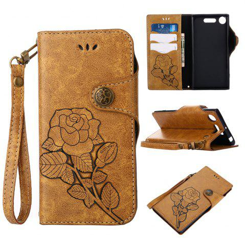 Fancy Retro Rose PU Leather Magnetic Closure Flip Wallet Protective Case with Lanyard for Sony Xperia XZ1