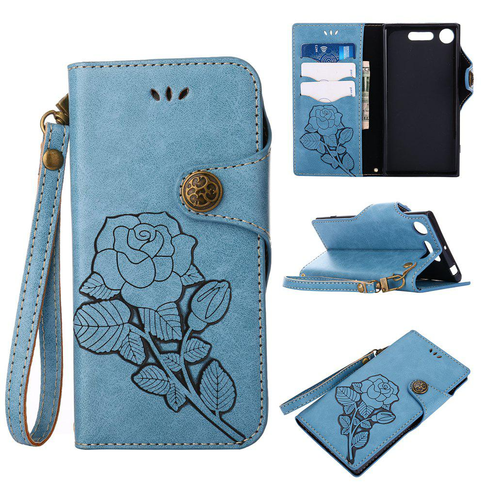 Hot Retro Rose PU Leather Magnetic Closure Flip Wallet Protective Case with Lanyard for Sony Xperia XZ1